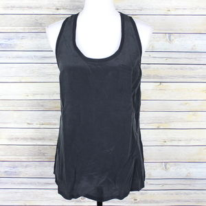 Joie Alicia Silk Racerback Tank Top Caviar Black